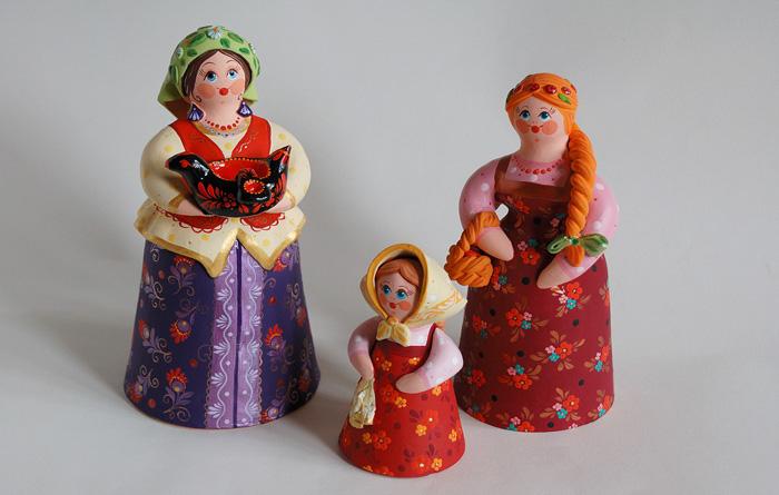 Колокольчики в традициях ковровской глиняной игрушки